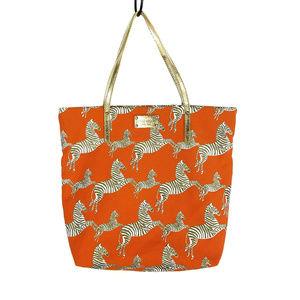 Kate Spade Orange Mot Jun Bon Shopper Zebra Tote
